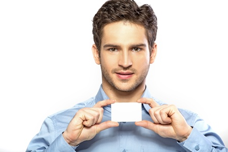 Glad handsome man with facial hair photo