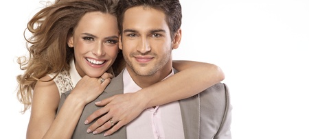 boy romantic: Panoramic style photo of nice couple