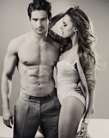 erotic couple: Black&white photo of perfect young couple Stock Photo