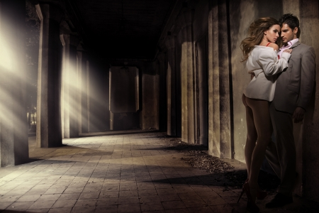 erotic couple: Great shot of sensual couple in antique place Stock Photo