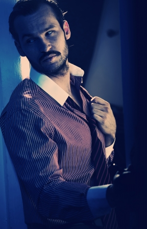 Spanish style handsome guy with facial hair photo