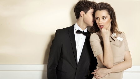 Sensual cute couple in elegant clothes photo