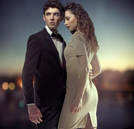 romantic: Fantastic photo of stylish young couple