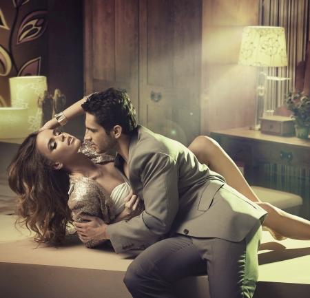 Stylish man touching fabulous lady
