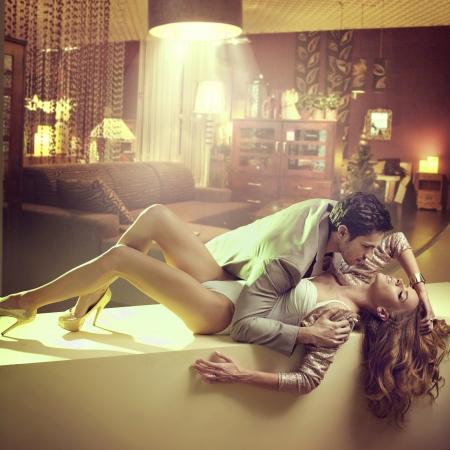 Gorgeous lady hugging by her boyfriend Reklamní fotografie