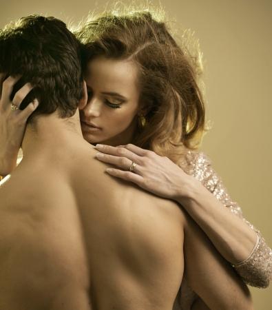 sensuality: Longing lady touching her boyfriend