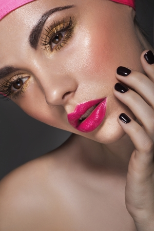 finger tip: Glamour portrait of beautiful lady model with fresh makeup Stock Photo