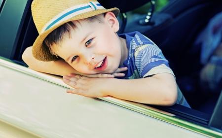 baby boys: Cute little boy bored in the car