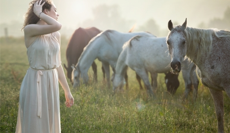 Aluring brunette lady walking next to the horses