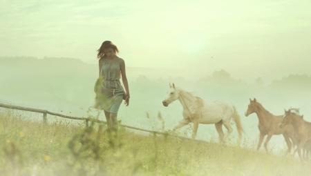 femme brune: Jolie dame brune reposant parmi les chevaux sauvages