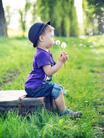 bright eyed: Small cute gentleman blowing the dandelions