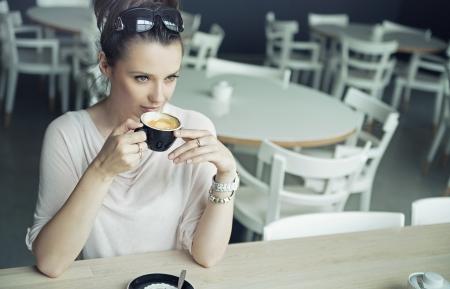 alluring: Alluring brunette woman taking a break