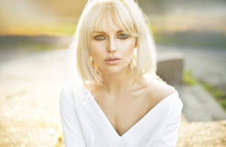 avantegarde: Portrait of beautiful clear skin woman Stock Photo
