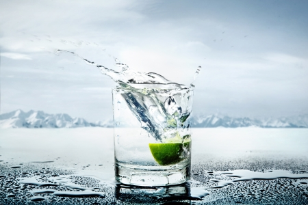 Art picture of lemon thrown to the glass full of water photo