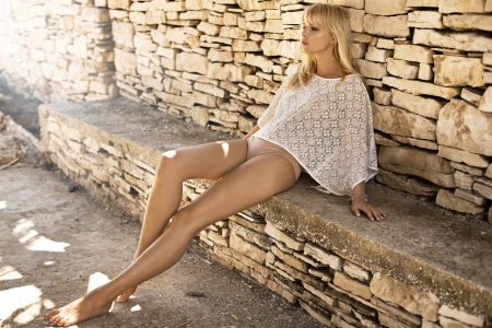 Sexy woman with long pretty legs photo