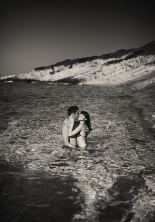 Black white picture of young cute couple photo
