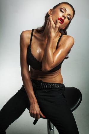 Sexy female model posing wearing lacy bra