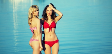 Two attractive ladies showing her beauty on the beach photo