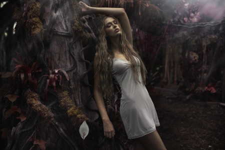 perl: Portrait of young blonde lady in fairyland Stock Photo
