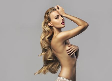 girl models: Natural beautiful woman with long gold hair