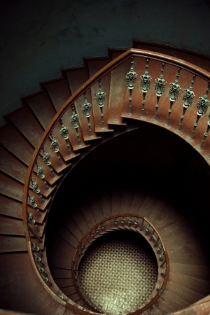 Art picture of wooden spiral stairs photo