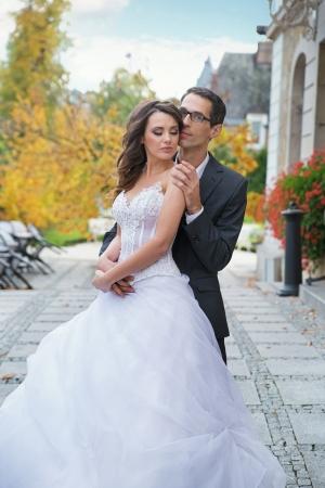 appealing attractive: Sensual bride with her handsome bridegroom