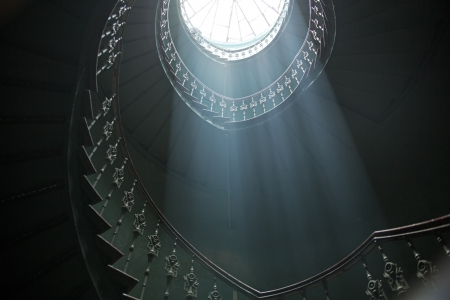 rise to the top: Great view of sunlights in the dark ancient interior