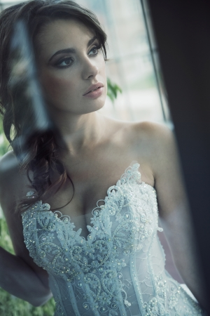 Sensual  brunette bride with perfect complexion Stock Photo