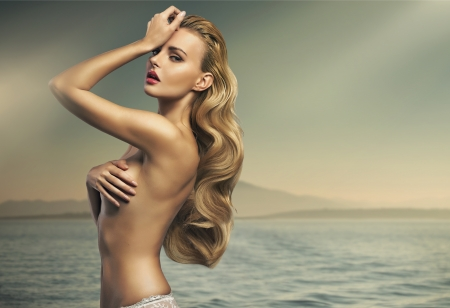 Great shot of sensual blonde woman