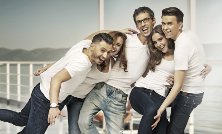 Great shot of attractive group of young friends Stock Photo - 24209900