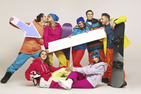 Picture of group of young snowboarders photo