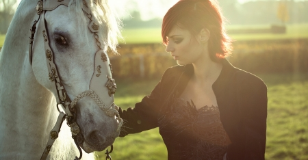 Redhead lady with strong white horse photo