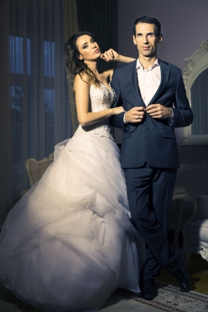 appealing attractive: Portrait of attractive young wedding couple Stock Photo