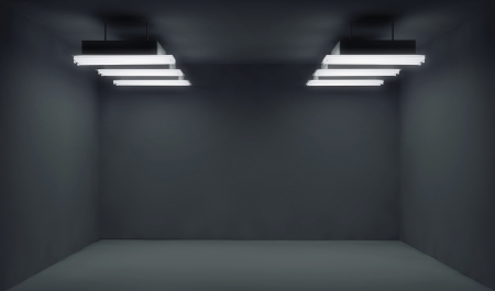 video wall: Empty dark place with lightrays Stock Photo