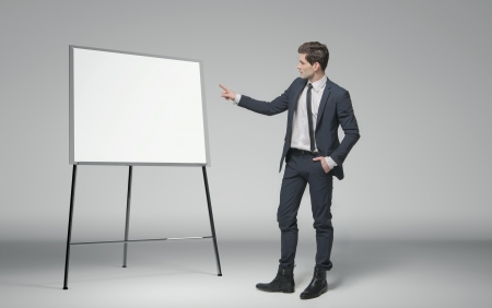 Young man making a lecture about business photo