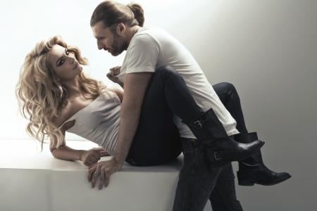 Sensual scene of really attractive couple