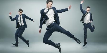 plan éloigné: Multiexposition image de jeune homme d'affaires à succès Banque d'images