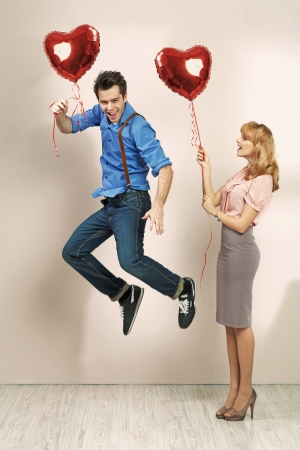 lovely couple: Cute blonde woman with her valentines boyfriend