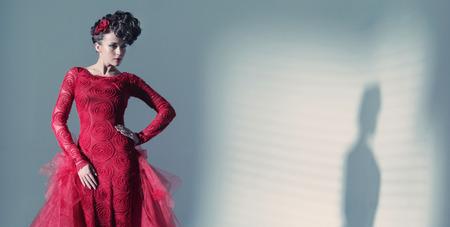 avantegarde: Fantastic lady wearing fashionbable red dress
