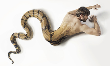 Art picture presneting the snake man photo