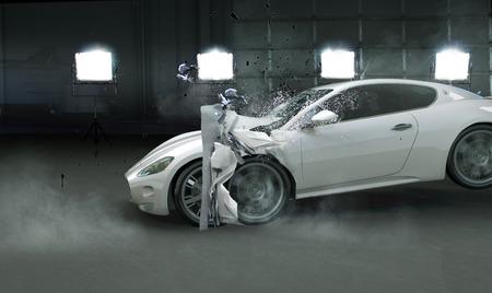 or blanc: présentation de l'image s'est écrasé auto cher Banque d'images