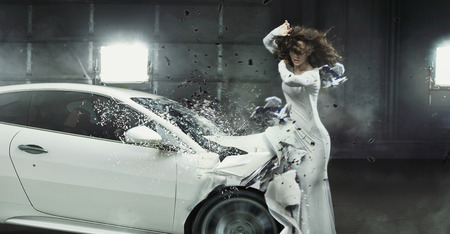 Conceptual picture of a crashed car