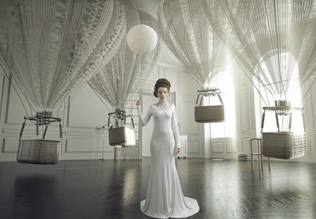 divat: Képzőművészet fotó egy fiatal divat nő egy stílusos belső