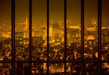 Night town in the yellow tone Stock Photo