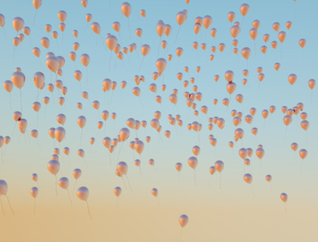 Lots of shiny golden balloons flying up to the sky photo