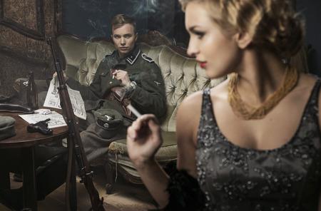 swat teams: Smoking blonde german soldier with his lovely wife