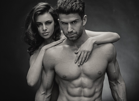 Black&white photo of sensual young couple photo