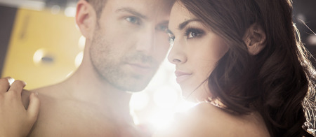 sensual couple: Bright portrait of the sensual young couple Stock Photo