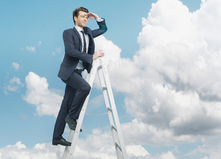 succesful: Succesful man on the top of the business