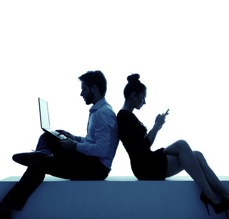 Young couple addicted to the network photo